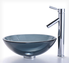 Clear Black Vessel Sink | Travista Design